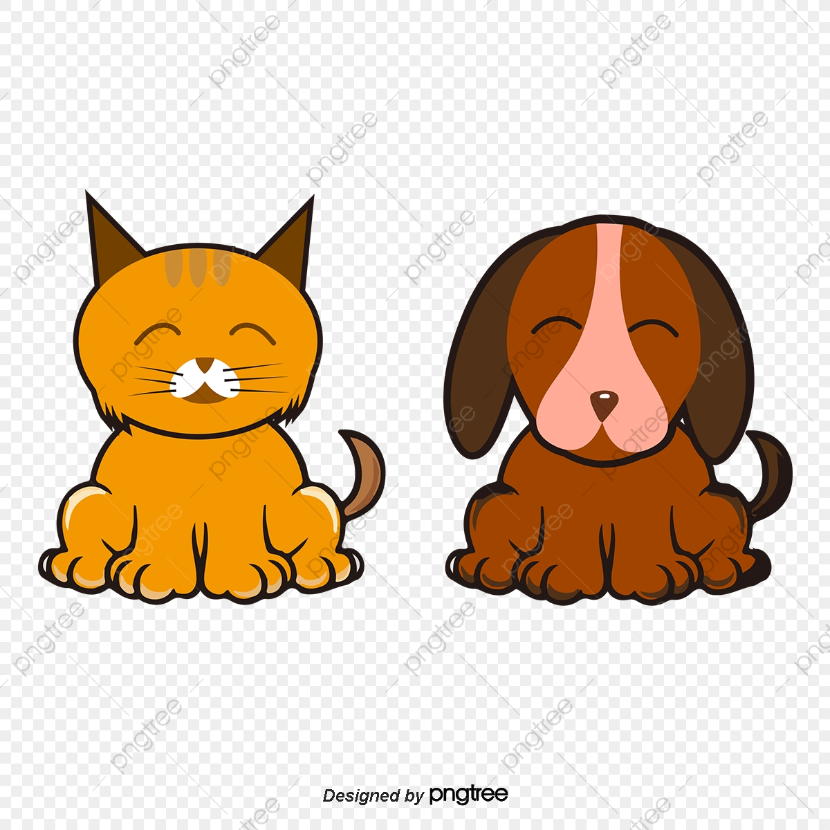 Hand Painted Cartoon Couple Cute Cats And Dogs Cartoon Animals Painted Cat Cute Dog Png Transparent Clipart Image And Psd File For Free Download