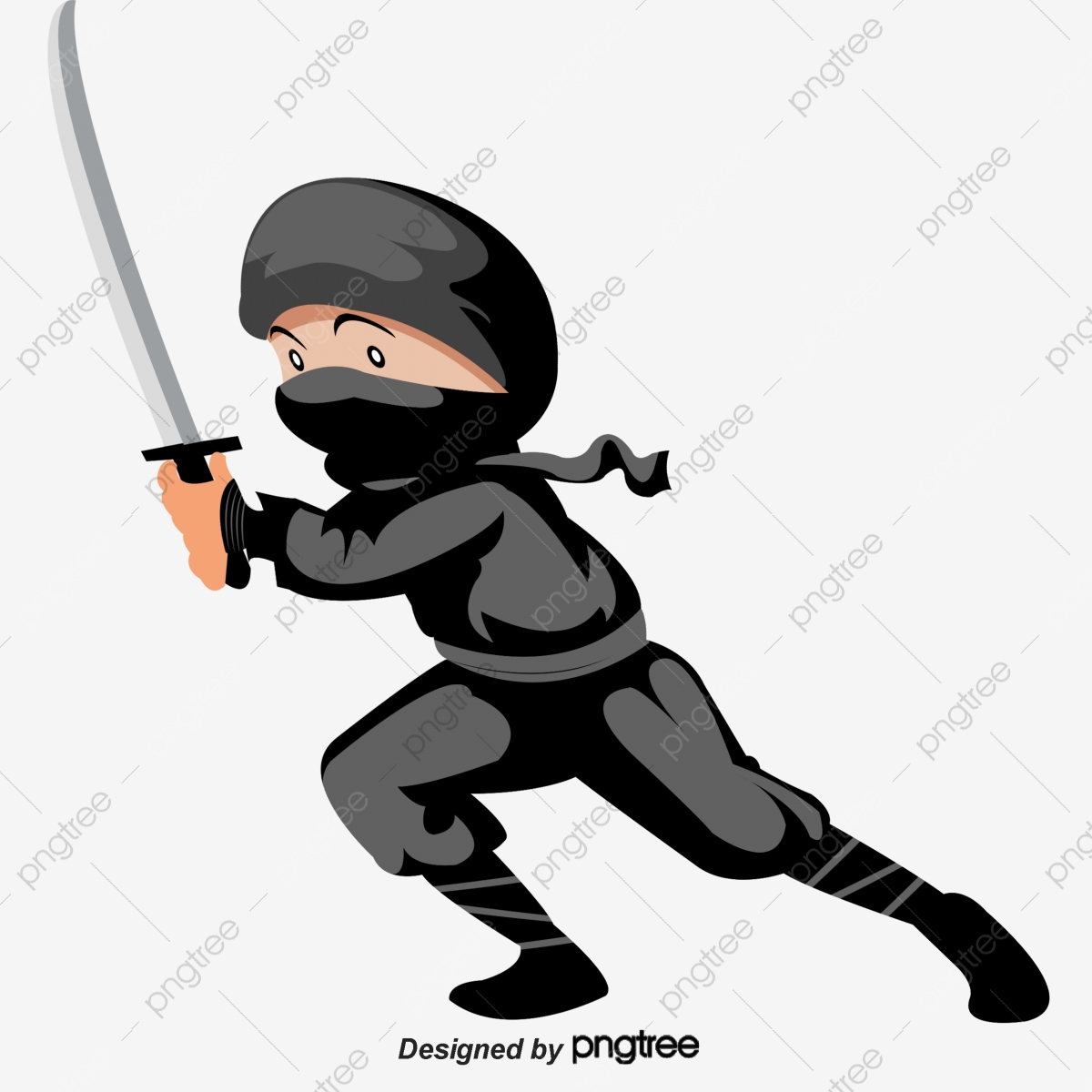 Kartun Tangan Dicat Jepun Memakai Topeng Ninja Watak Kartun