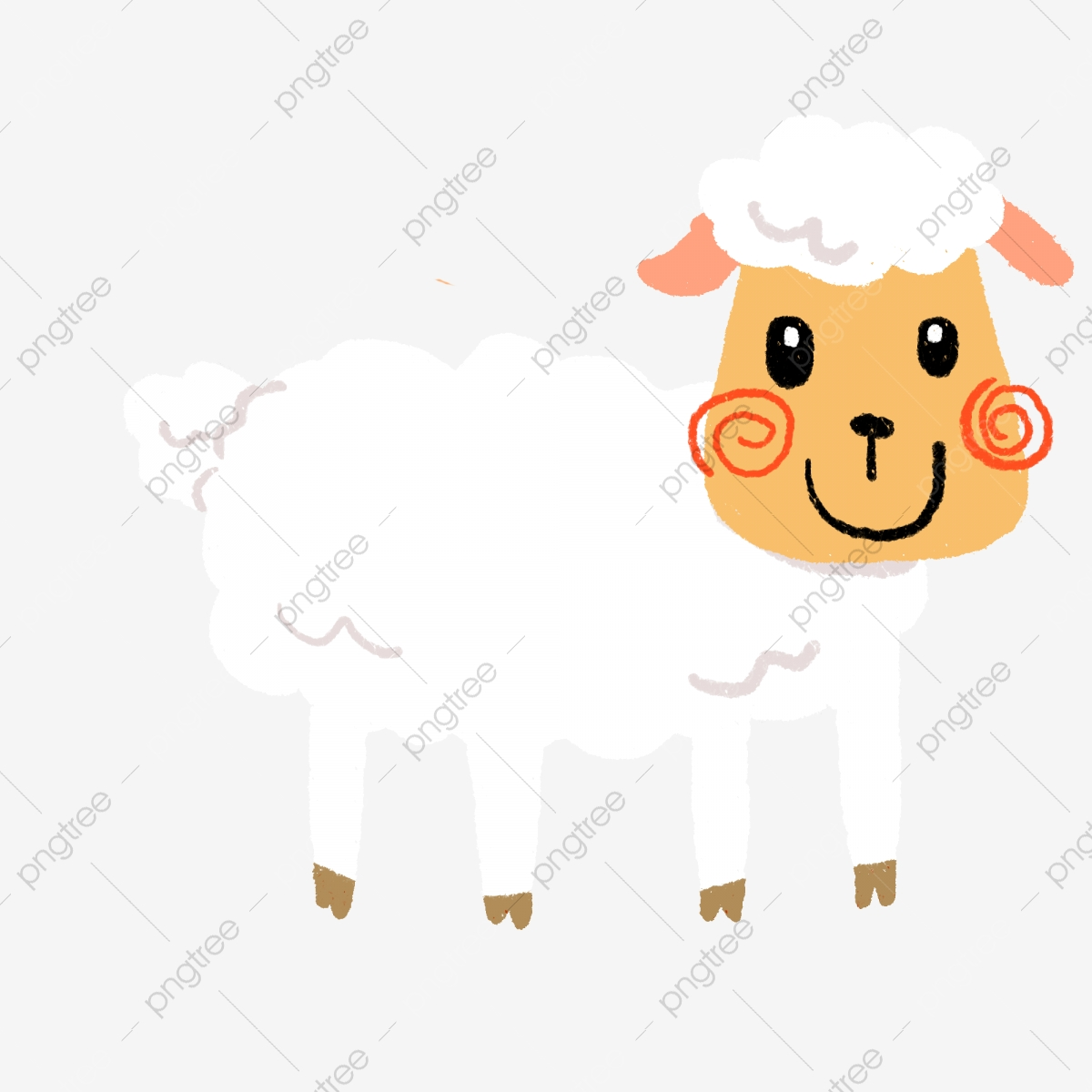 Hand Painted Sheep Eid Al Adha Sheep Clipart Sheep White Png Transparent Clipart Image And Psd File For Free Download