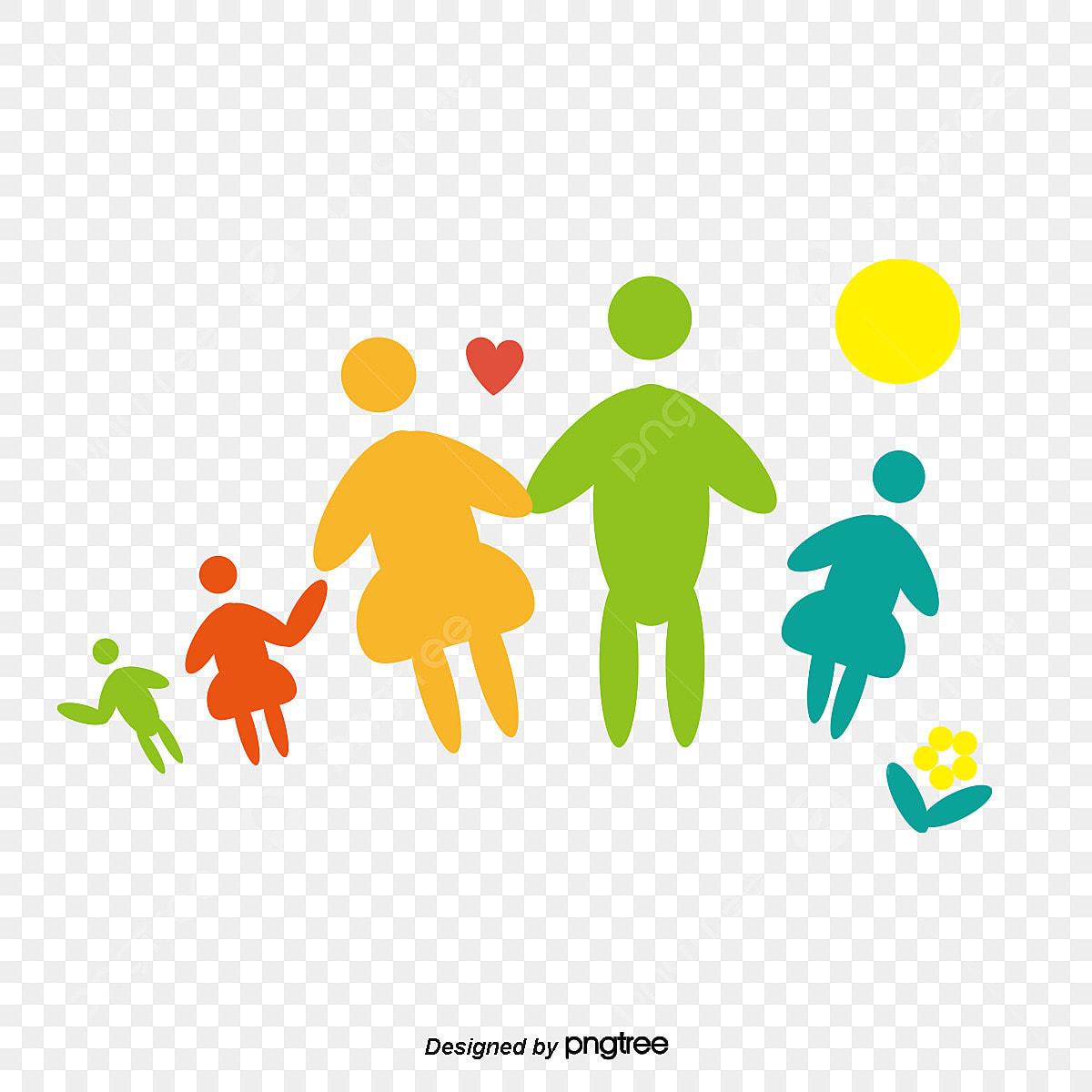 Familia Feliz De Dibujos Animados Lindo Material La Familia