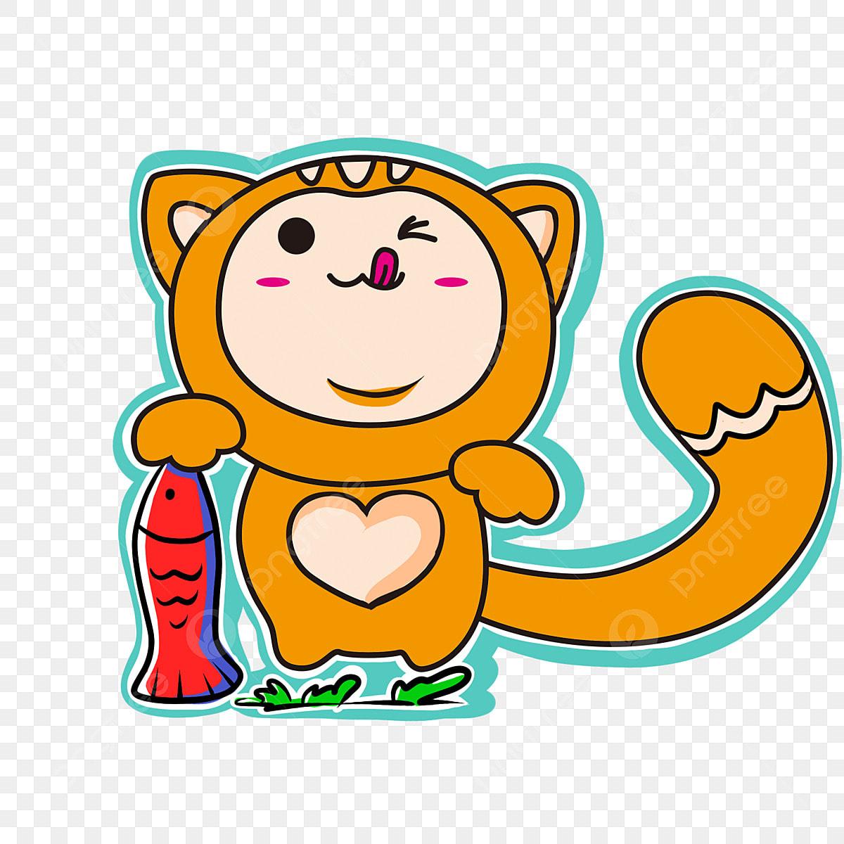 無料ダウンロードのための楽しい子猫 漫画 イラスト 児童イラストpng画像素材