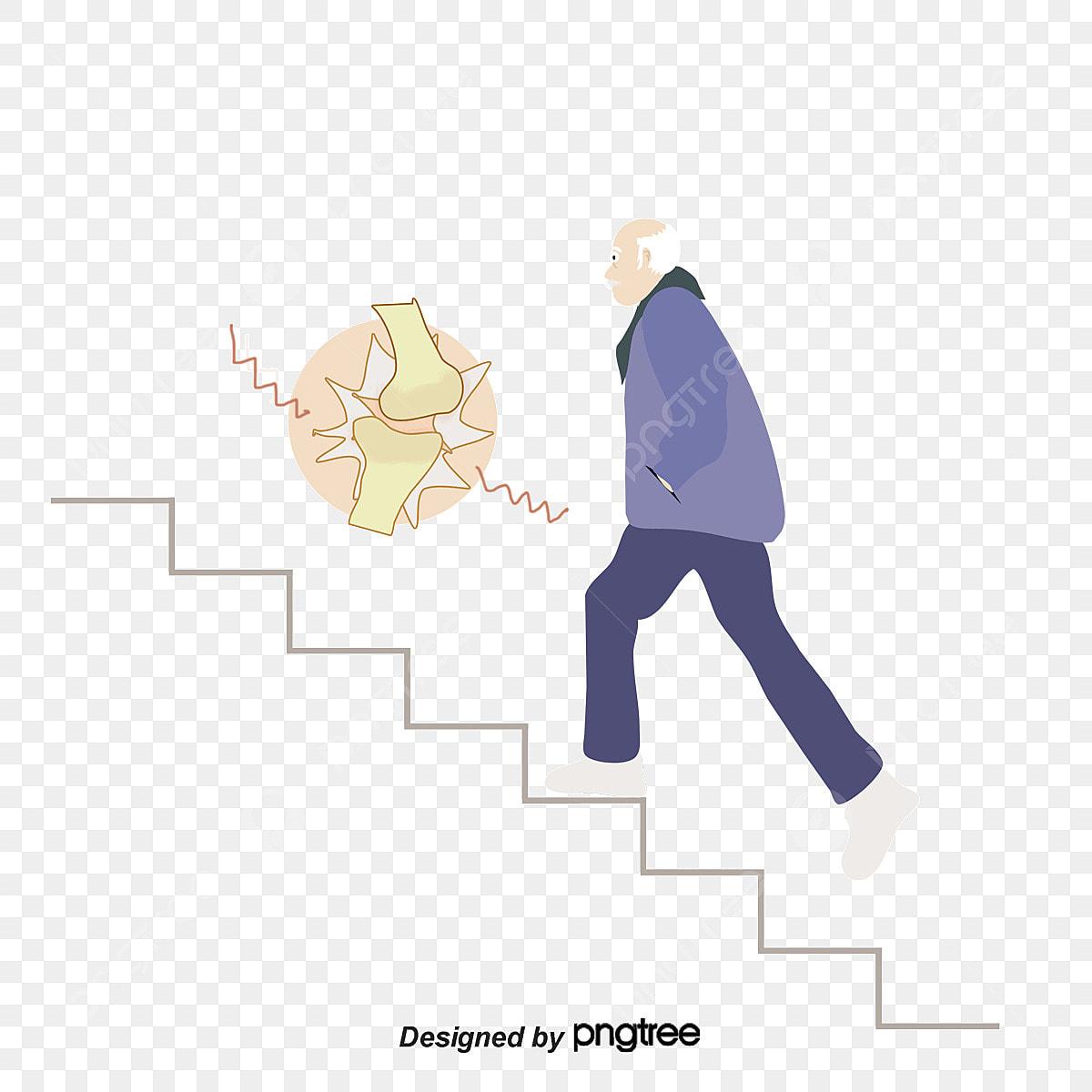 膝関節関節かぶれるイラスト 関節炎 痛み 階段を上がる画像とpsd素材