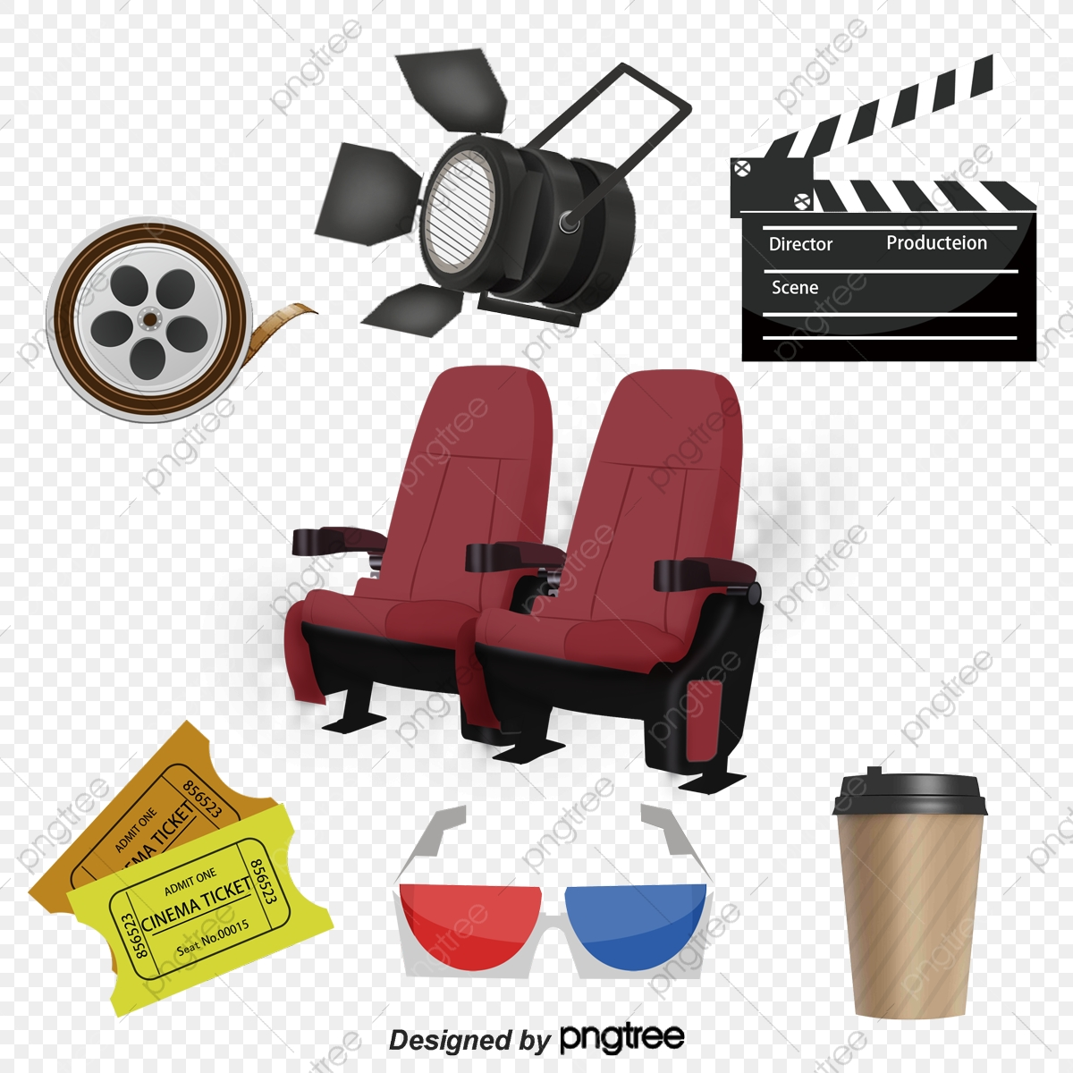 Movies And Seat, Clapperboard, Movie Ticket, 3d Glasses PNG