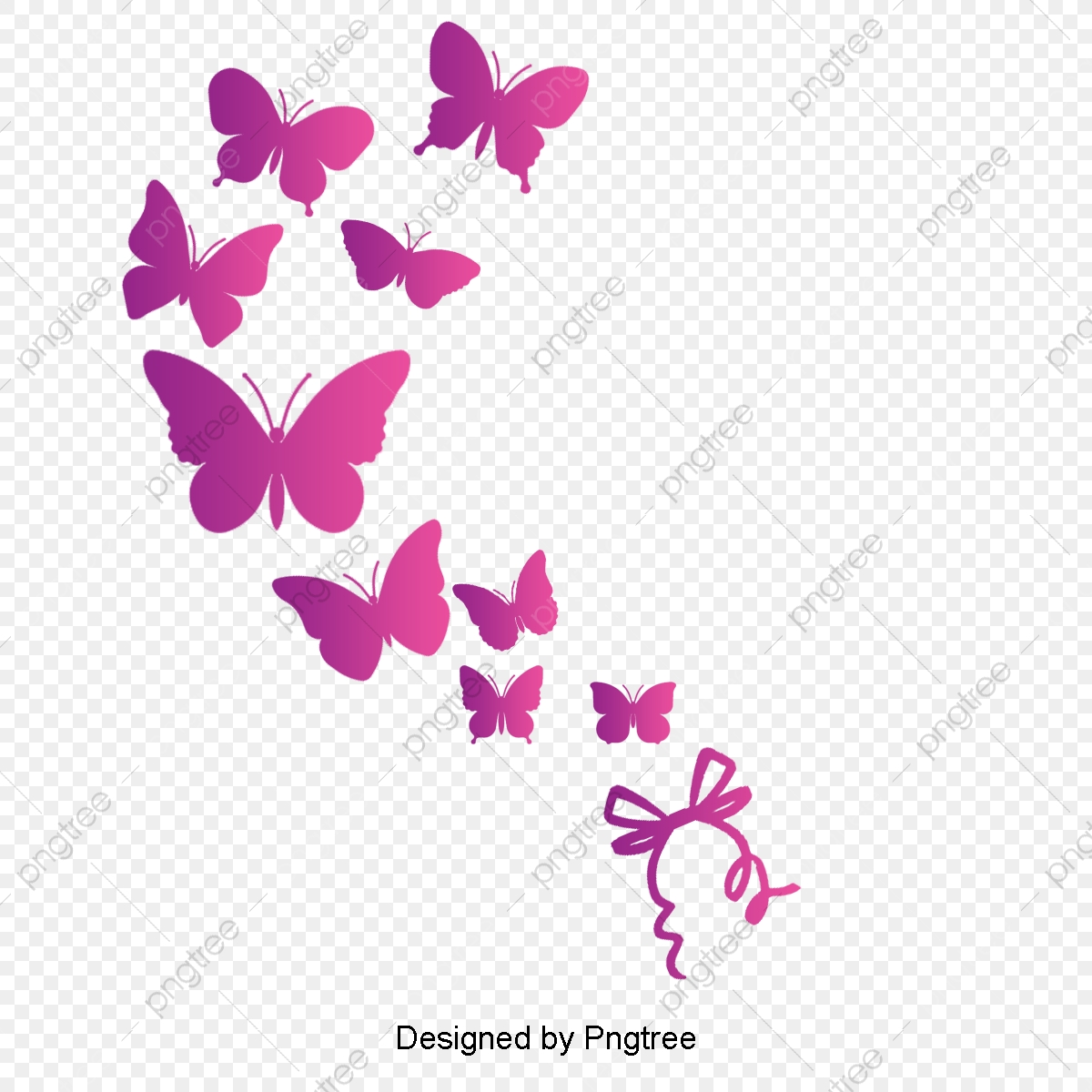 Pink Butterfly, Pink, Butterfly, Vector PNG Transparent Clipart