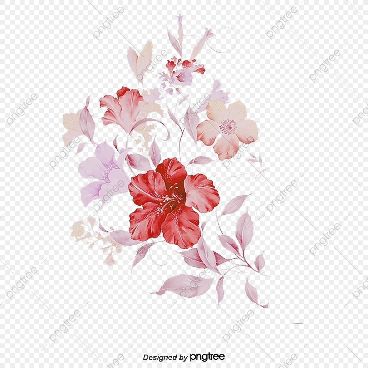 Pink Flowers Vector, Flowers, Pink, Vector PNG and Vector
