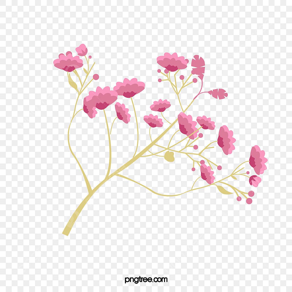 une branche de fleurs rose  u00e0 motif d u00e9coratif rose peint  u00e0