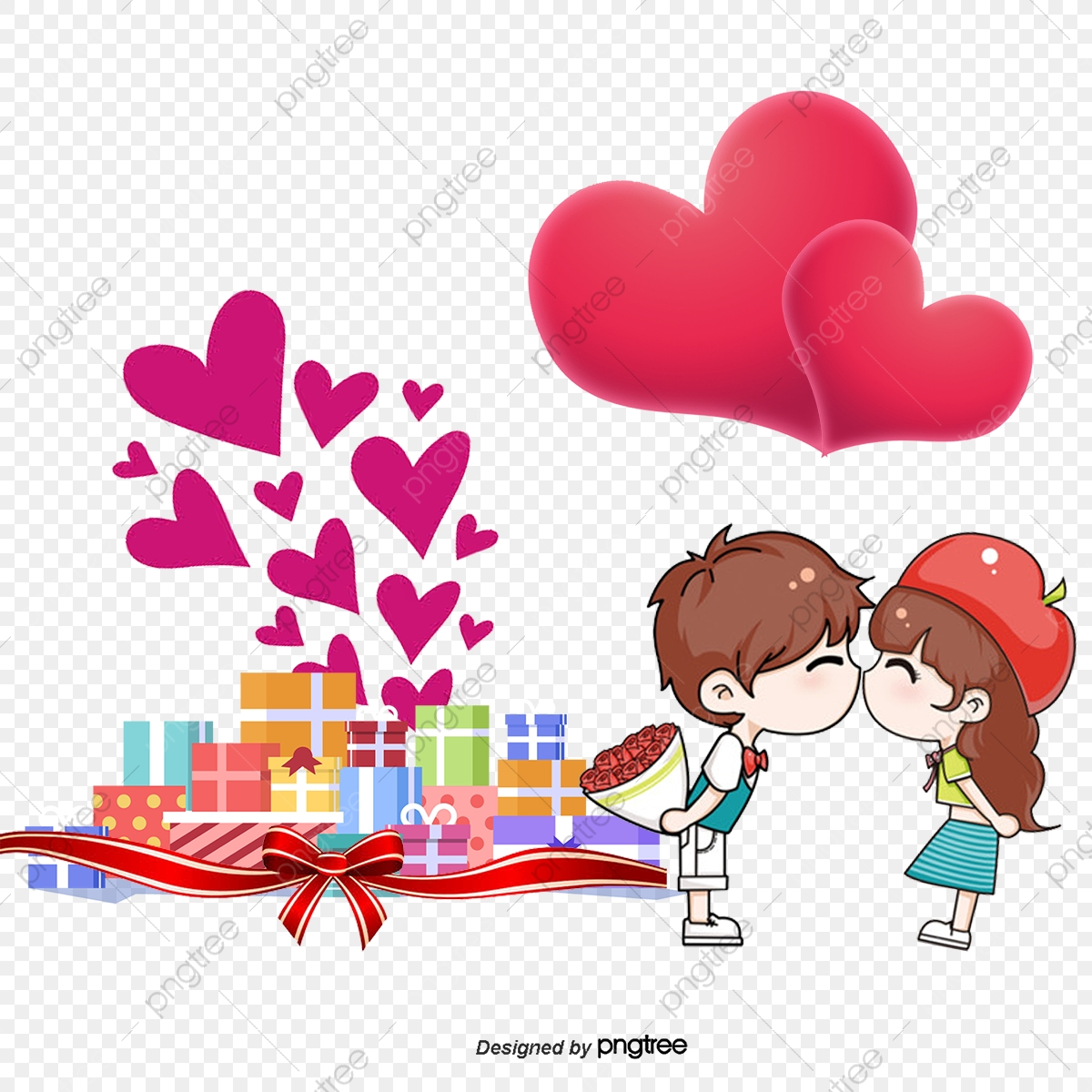 Romantic Valentine S Day Cartoon Creative Cartoon Couple Balloon Love Png Transparent Clipart Image And Psd File For Free Download