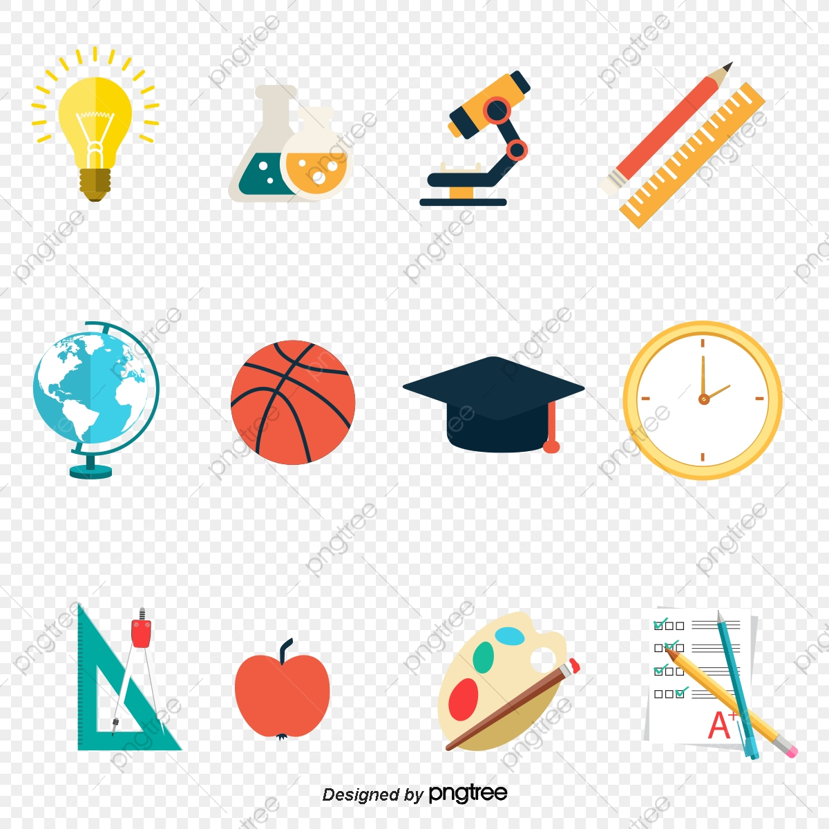 School Education Related Icons Hand Painted Cartoon School Learn Png And Vector With Transparent Background For Free Download
