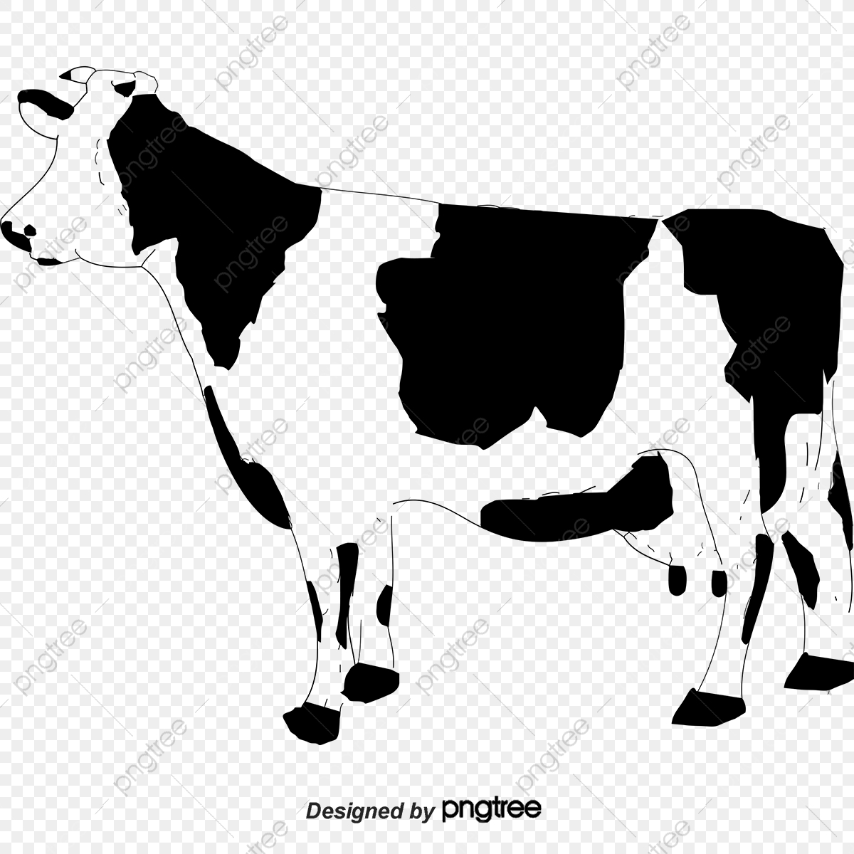 Sketch Cow, Dairy Cow, Sketch, Hand Painted PNG and Vector