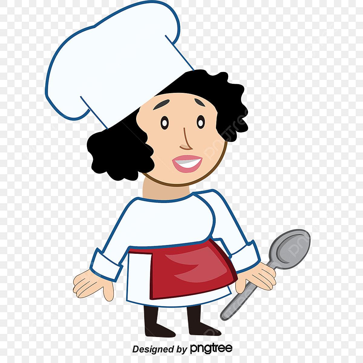 Desenho Pintado A Mao Com Uma Colher Pequena Cozinheira Figura