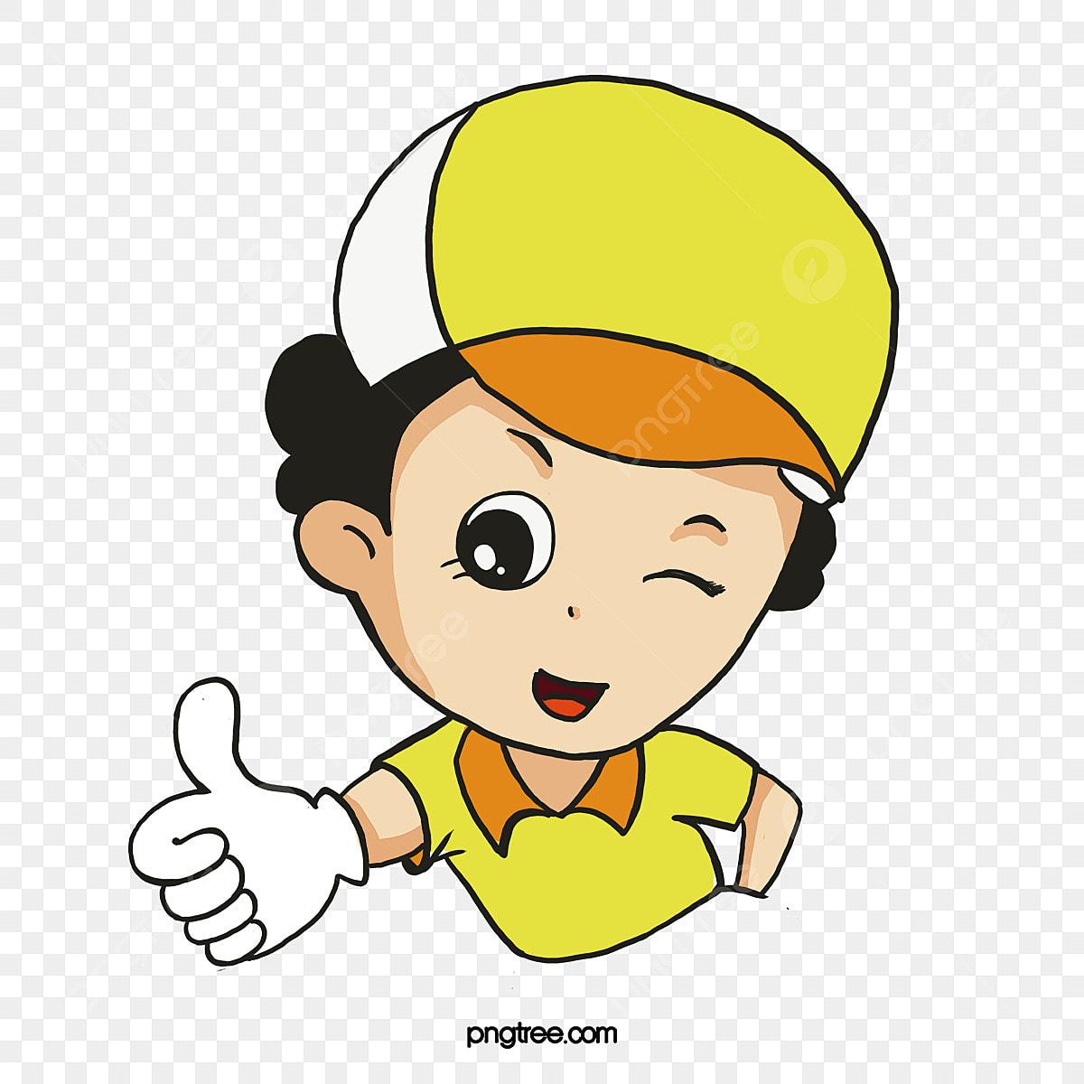 Thumbs up cute. Cartoon girl vector