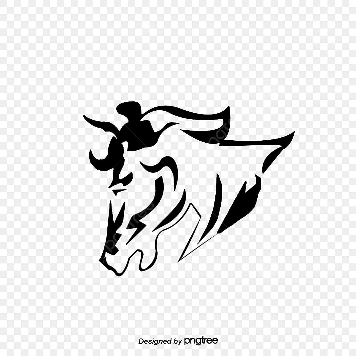 Vektor Garis Hitam Kuda Kreatif Vektor Kuda Kepala Kuda