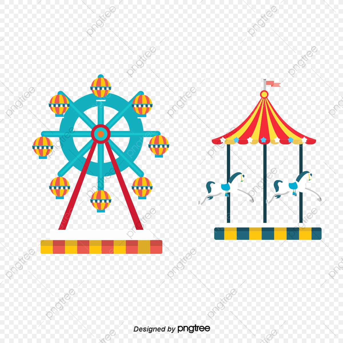Vector Cartoon Amusement Park Ferris Wheel Carousel Cartoon Amusement Park Cartoon Ferris Png Transparent Clipart Image And Psd File For Free Download