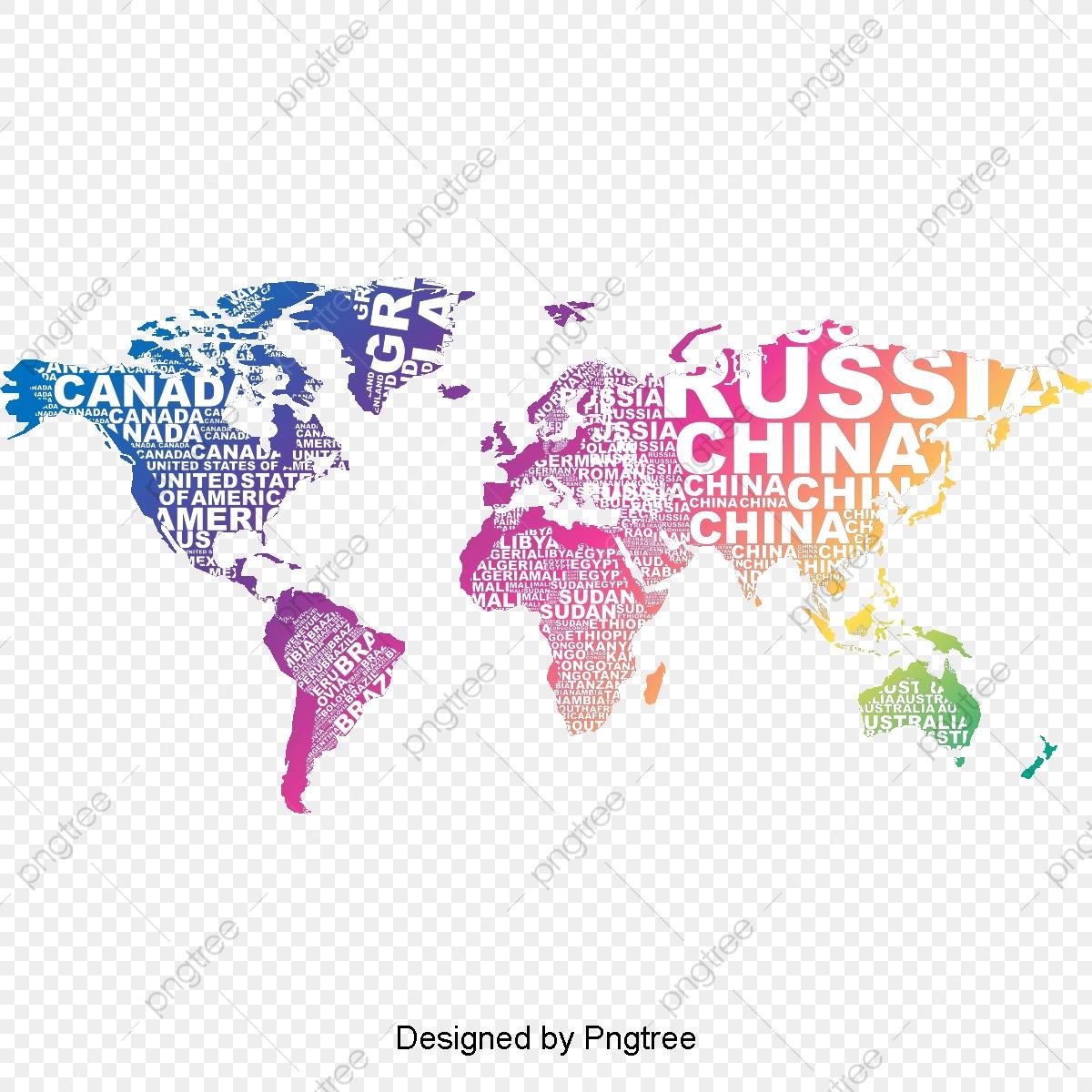 Vector Creative English Letter World Map, Map, World Map ...