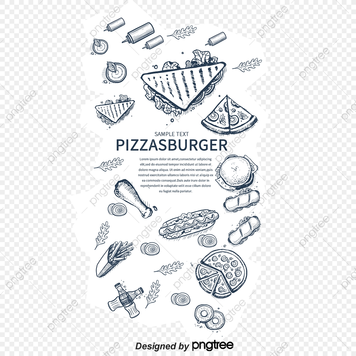 Vector Fast Food Pizza Chicken Hot Dog Png And Vector With