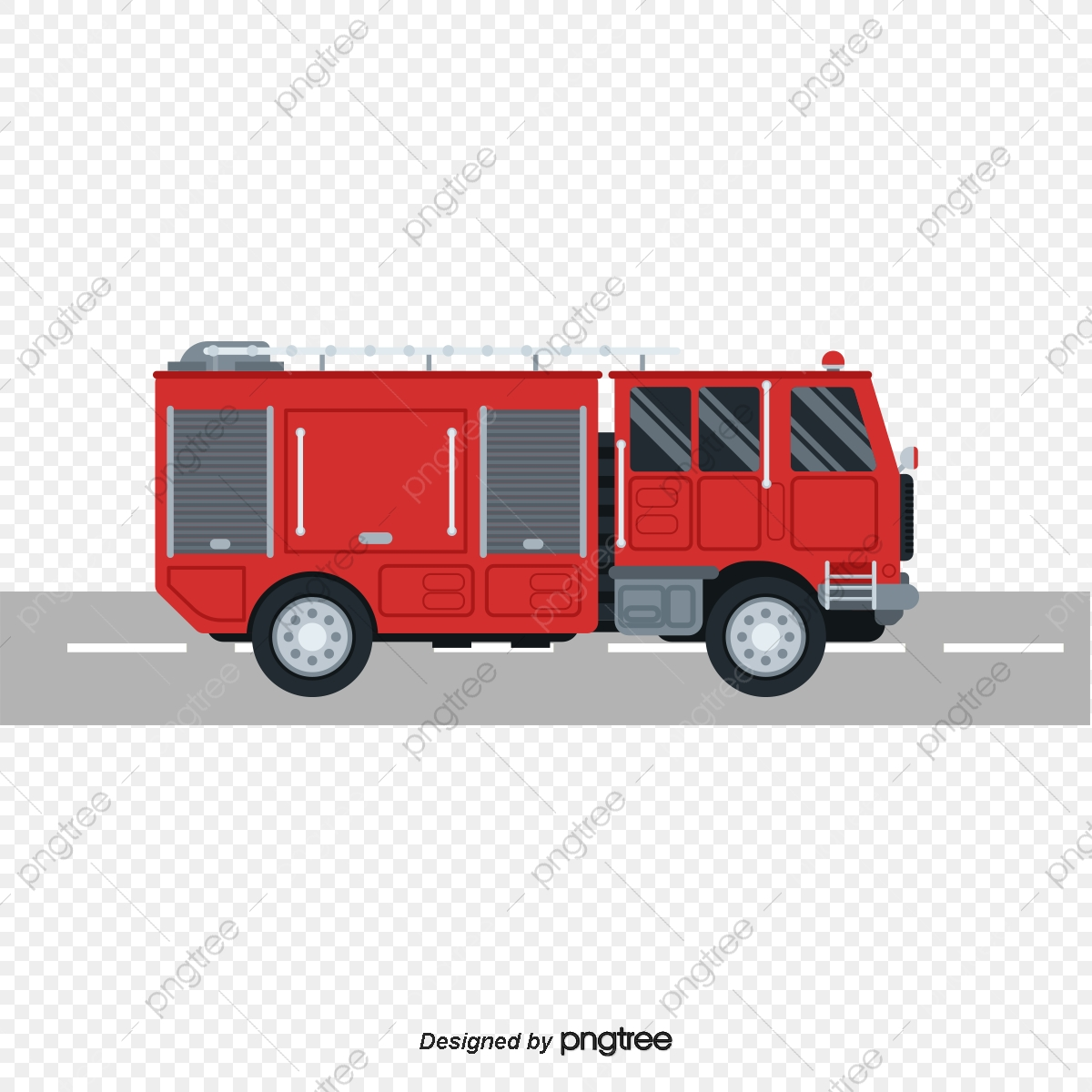 Vector Fire Truck, Truck Clipart, Cartoon, Fire Truck PNG and Vector