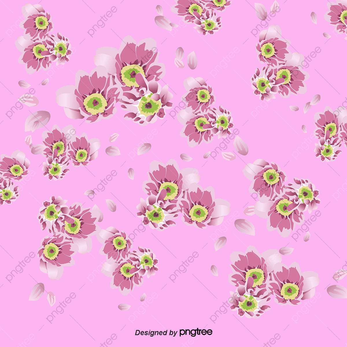 Vector Flower Background Flower Vector Plant Hand Painted