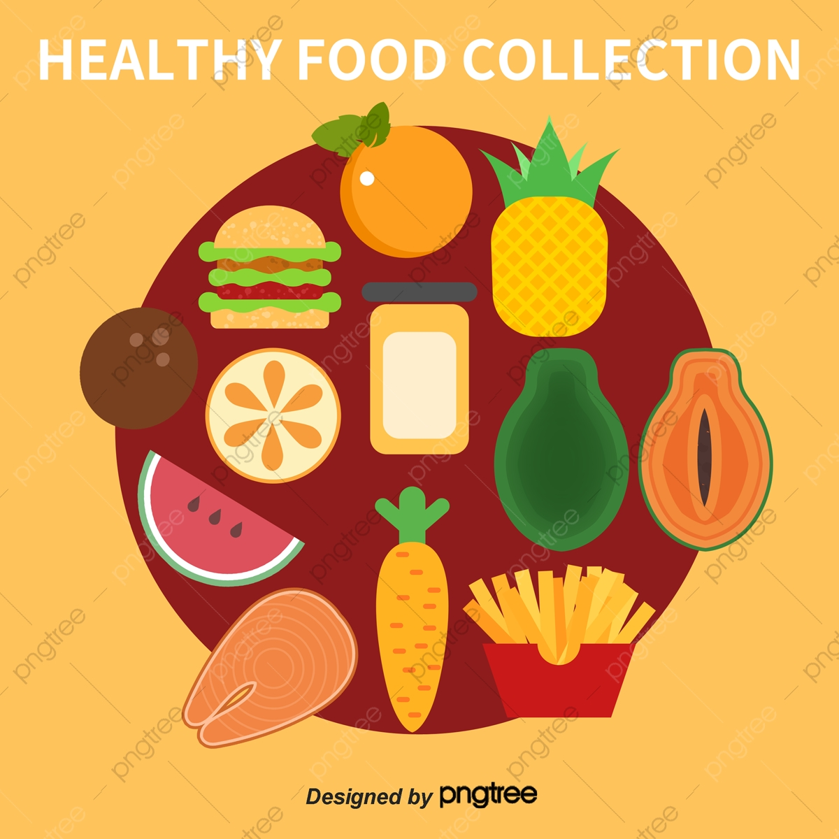 Vector Healthy Food Collection Bread Drink Watermelon Png Transparent Clipart Image And Psd File For Free Download