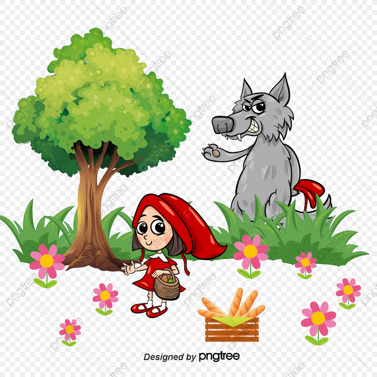 Vector Little Red Riding Hood Wolf Tale Lang Waipo Png And