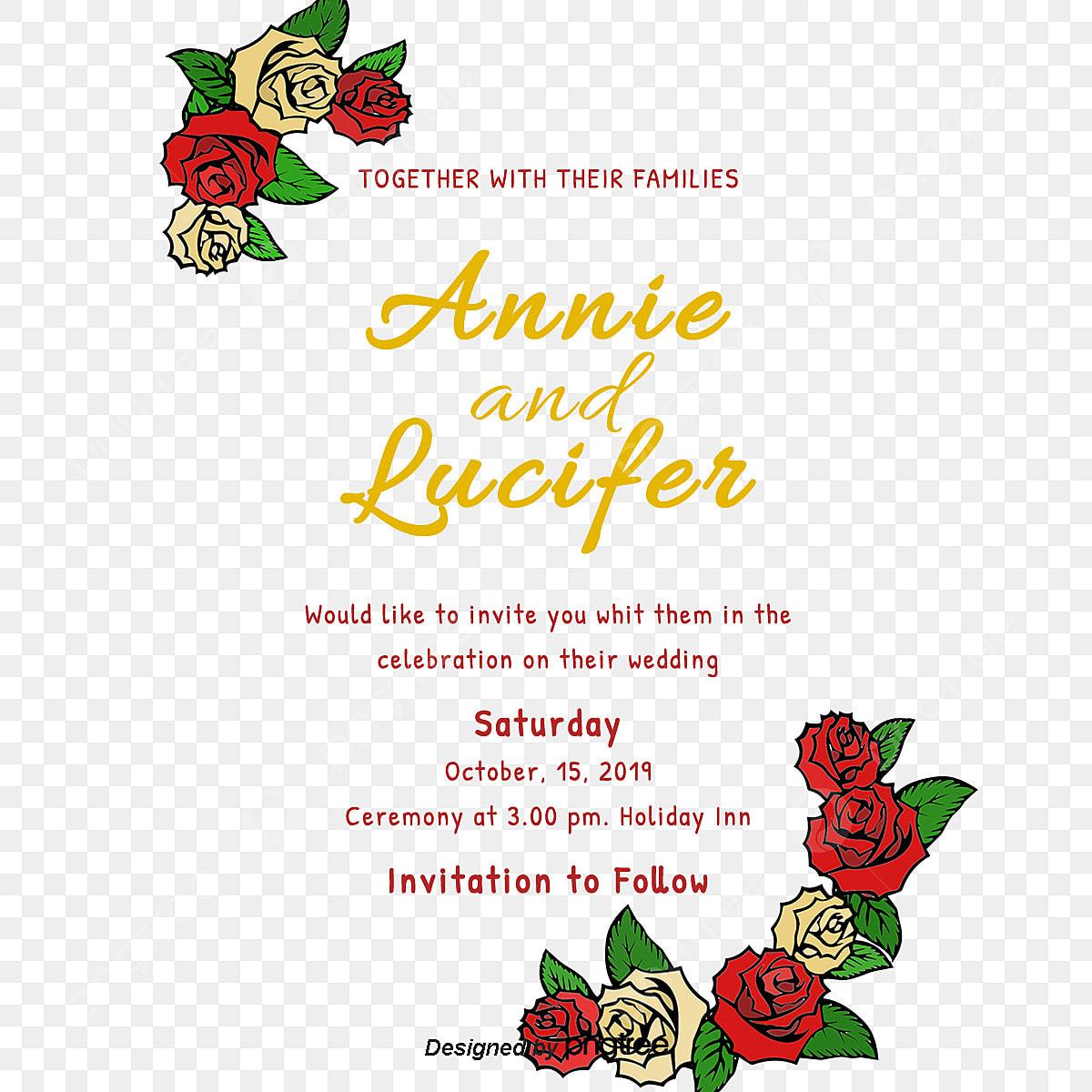Invitation De Mariage De Vecteur De Rose Lettre D