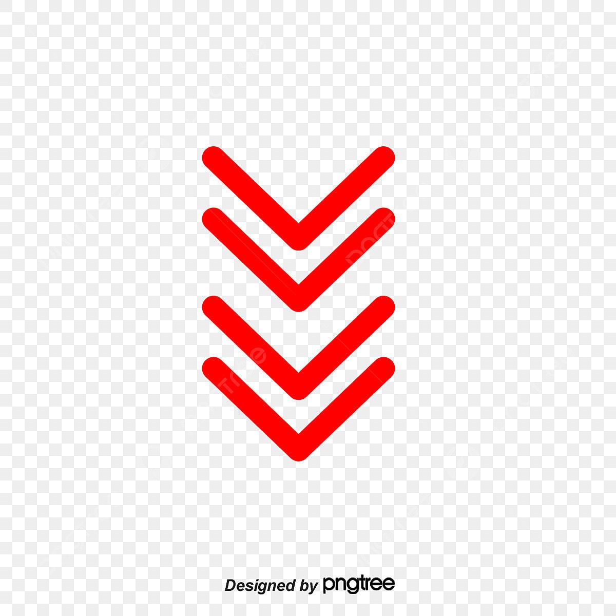 Vector Straight Down Arrow Red Double Row Arrow Vector