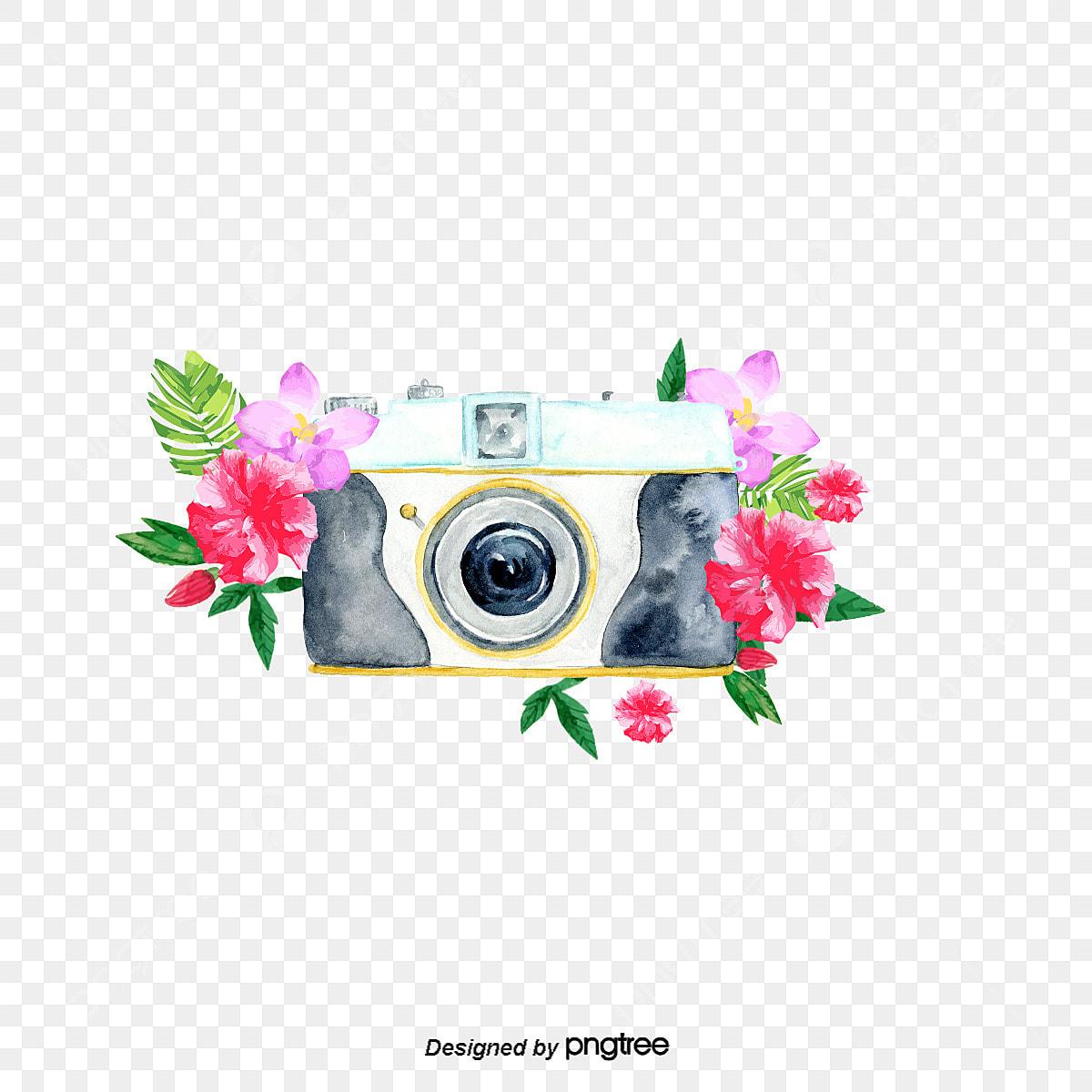 vecteur de fleurs et de cam u00e9ra aquarelle aquarelle fleur de la cam u00e9ra png et vecteur pour