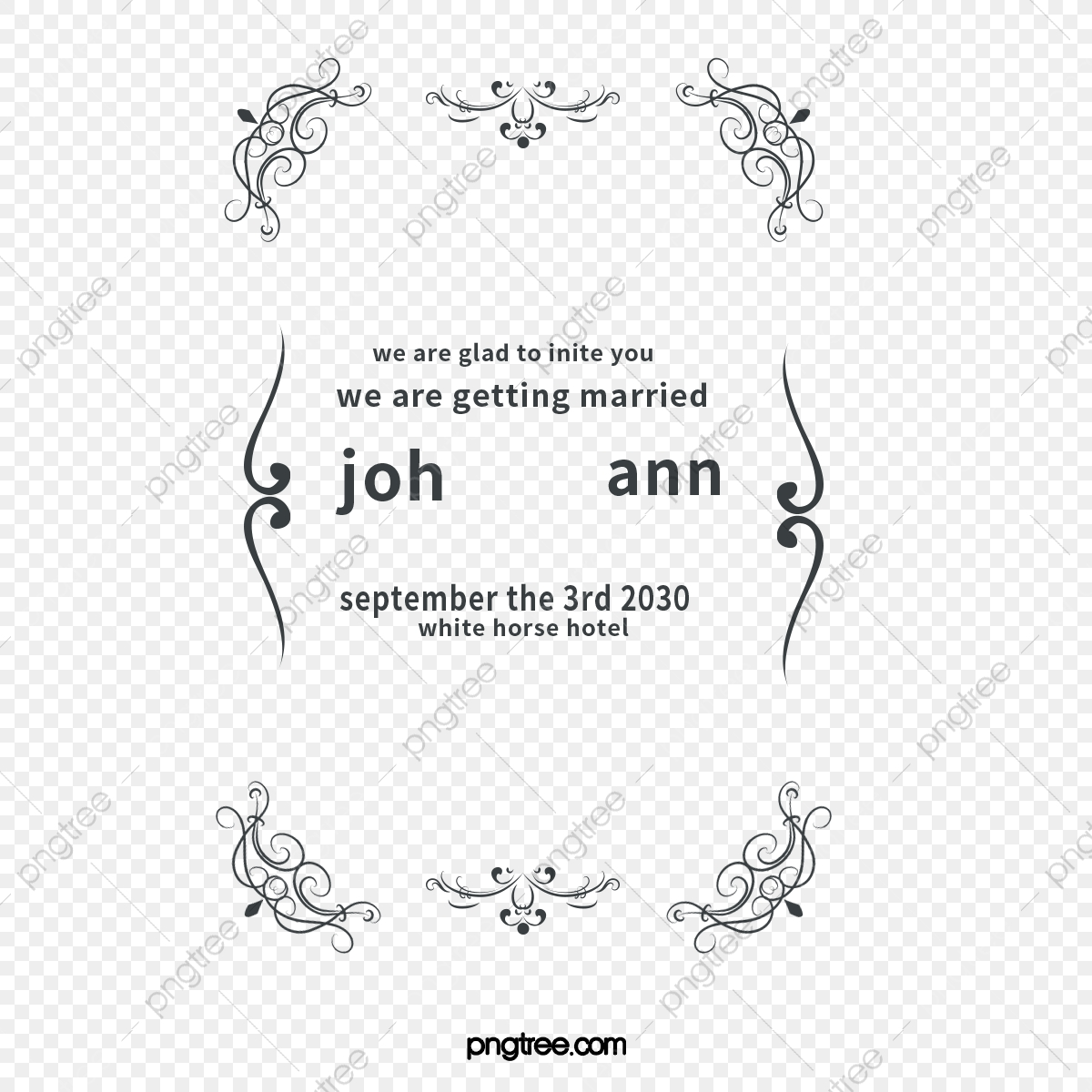 Wedding Invitation Border Marry Ceremony Invite Png And Vector