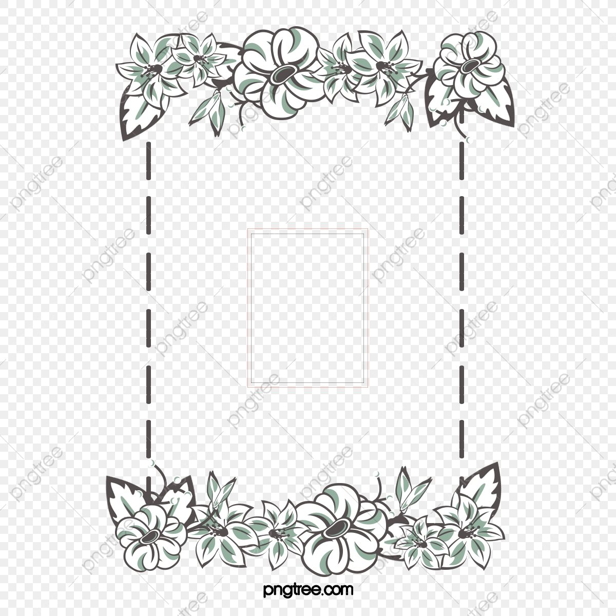 White Flower Frame Vector Material Classical White Flowers Png
