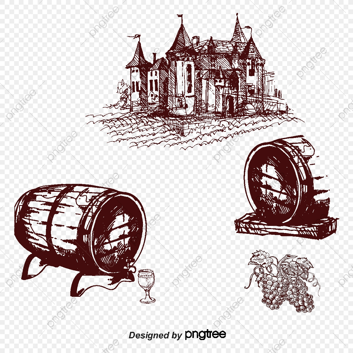 Wine Barrel, Wine Vector, House, Vector Architecture PNG and