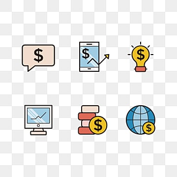 Color Financial Linear Icon, Linear Icon, Finance, Finance PNG and PSD