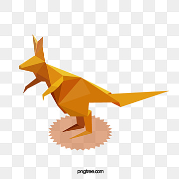 geometric stereoscopic yellow kangaroo, Geometric, Hand Painted, Origami PNG and PSD