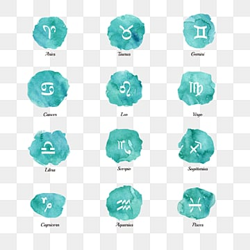 green watercolor 12 constellation zodiac symbol group, 12 Constellations, The 12 Chinese Zodiacs, Element PNG and PSD