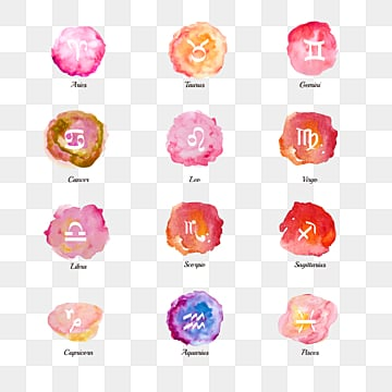 hand painted watercolor texture zodiac symbol group of 12 constellations, 12 Constellations, The 12 Chinese Zodiacs, Element PNG and PSD