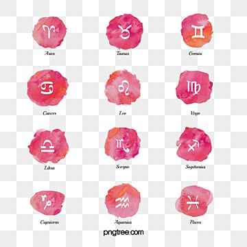 pink water colour zodiac constellation symbol group, 12 Constellations, The 12 Chinese Zodiacs, Element PNG and PSD