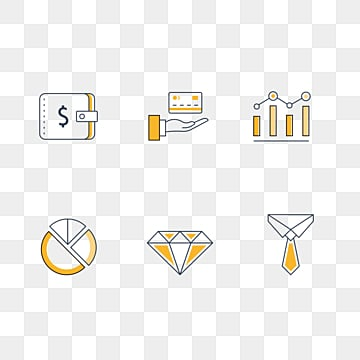 yellow linear financial icon, Chart, Linear Icon, Finance PNG and PSD