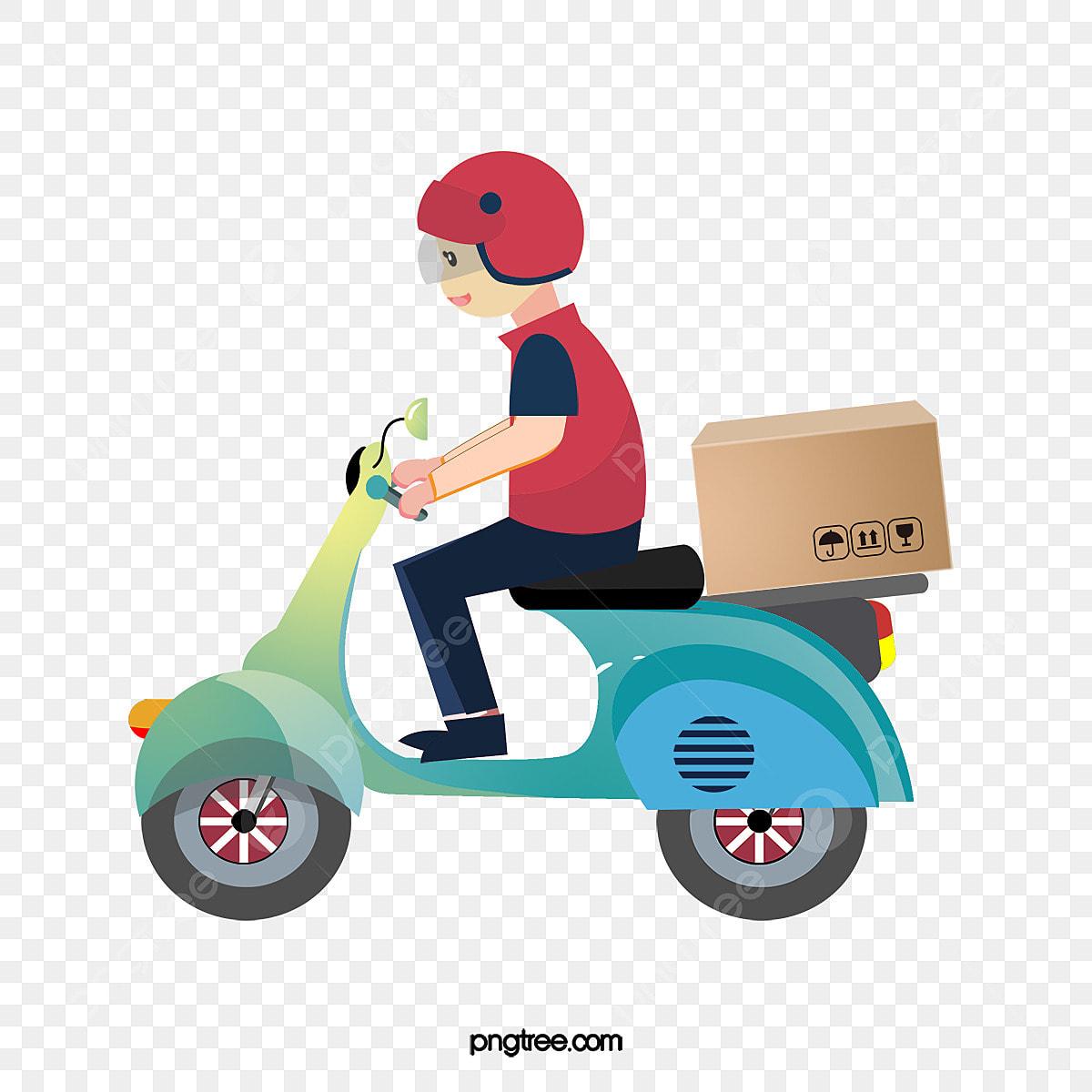 Una Moto De Repartidor, Vector Png, Delivery Boy, Express ...