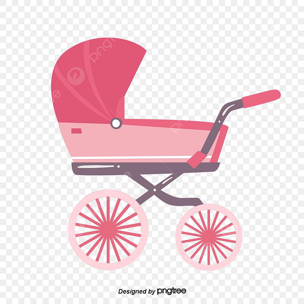 Carrinho De Bebe Dos Desenhos Animados Cor De Rosa Cartoon Cor