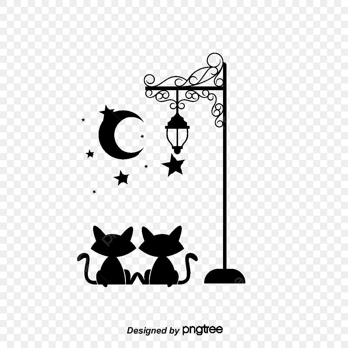 Cartoon Cat Wallpaper Black Little Cat Night Png And Vector