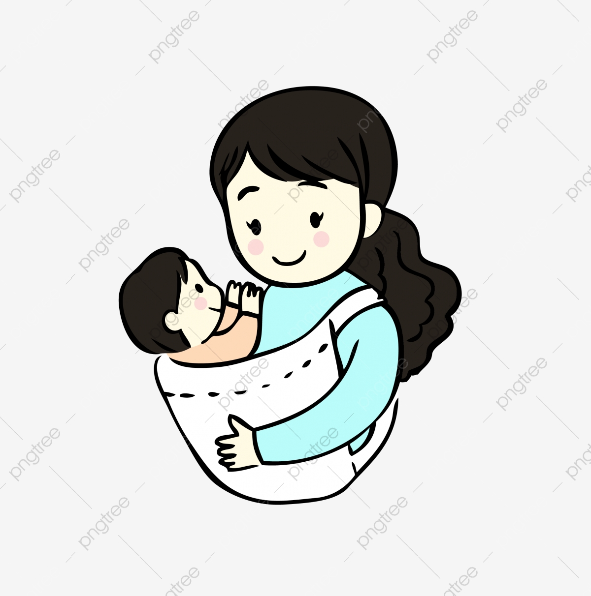Cartoon Mother And Baby Cartoon Clipart Baby Clipart Baby Png And Vector With Transparent Background For Free Download
