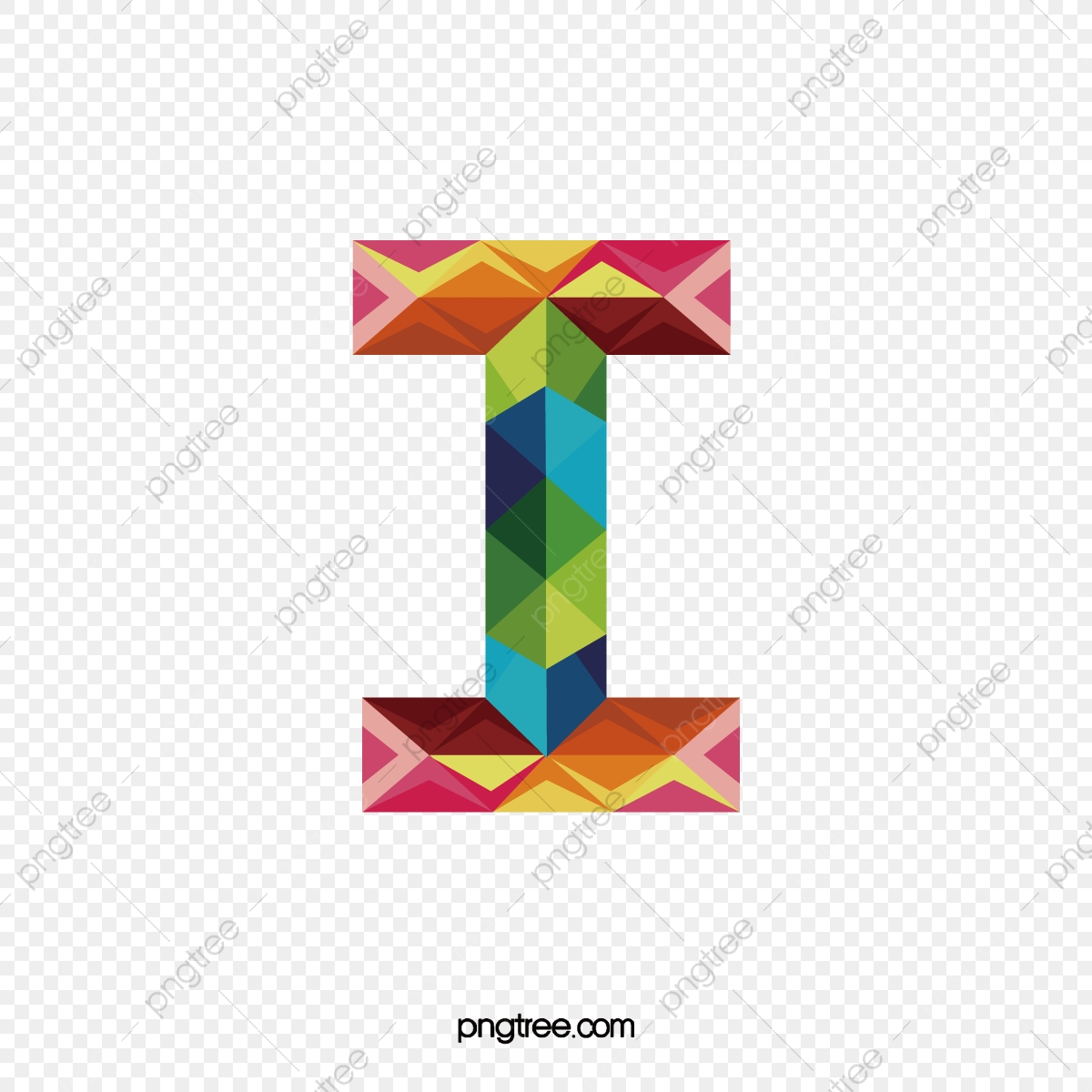 Colorful Letters I, Letter, I, Colorful PNG Transparent Image and