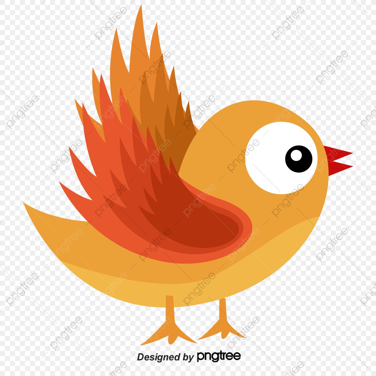 Cute Orange Flying Bird Cartoon Hand Painted Birdie Magpie Png Transparent Clipart Image And Psd File For Free Download