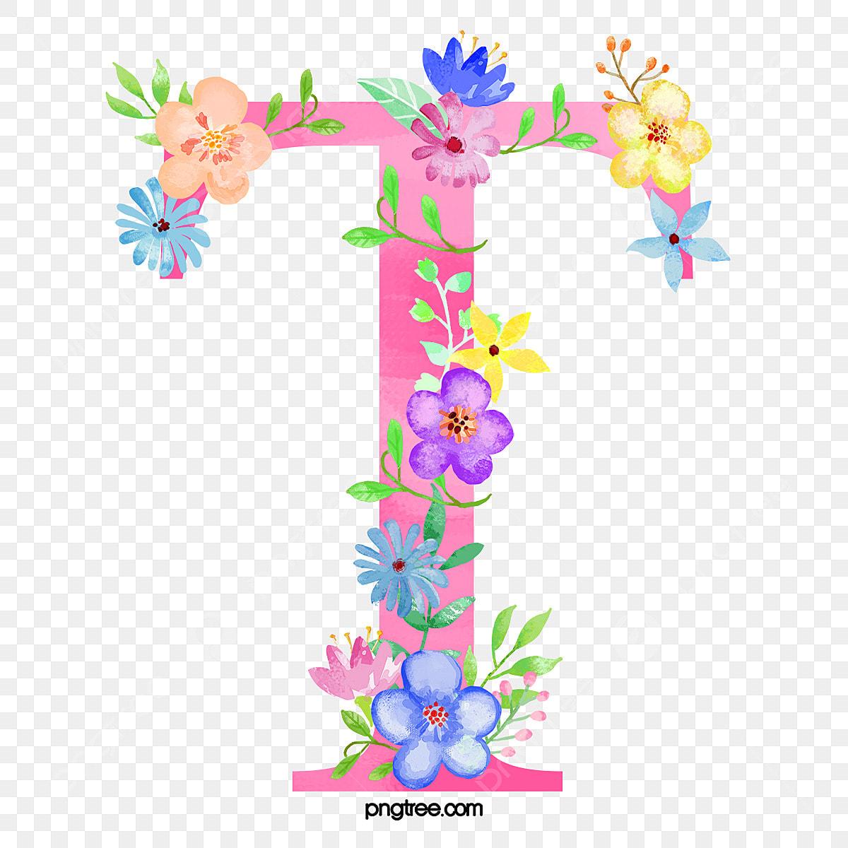 Flowers Letter T, Letter Clipart, Flower, Letter PNG Transparent ...