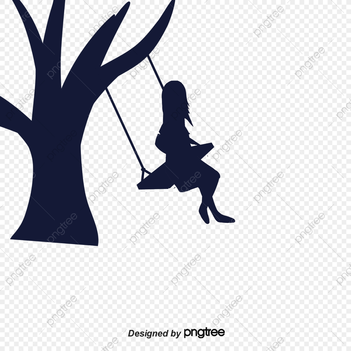 Girl On The Swing Silhouette To Swing Silhouette Happy Png Transparent Clipart Image And Psd File For Free Download