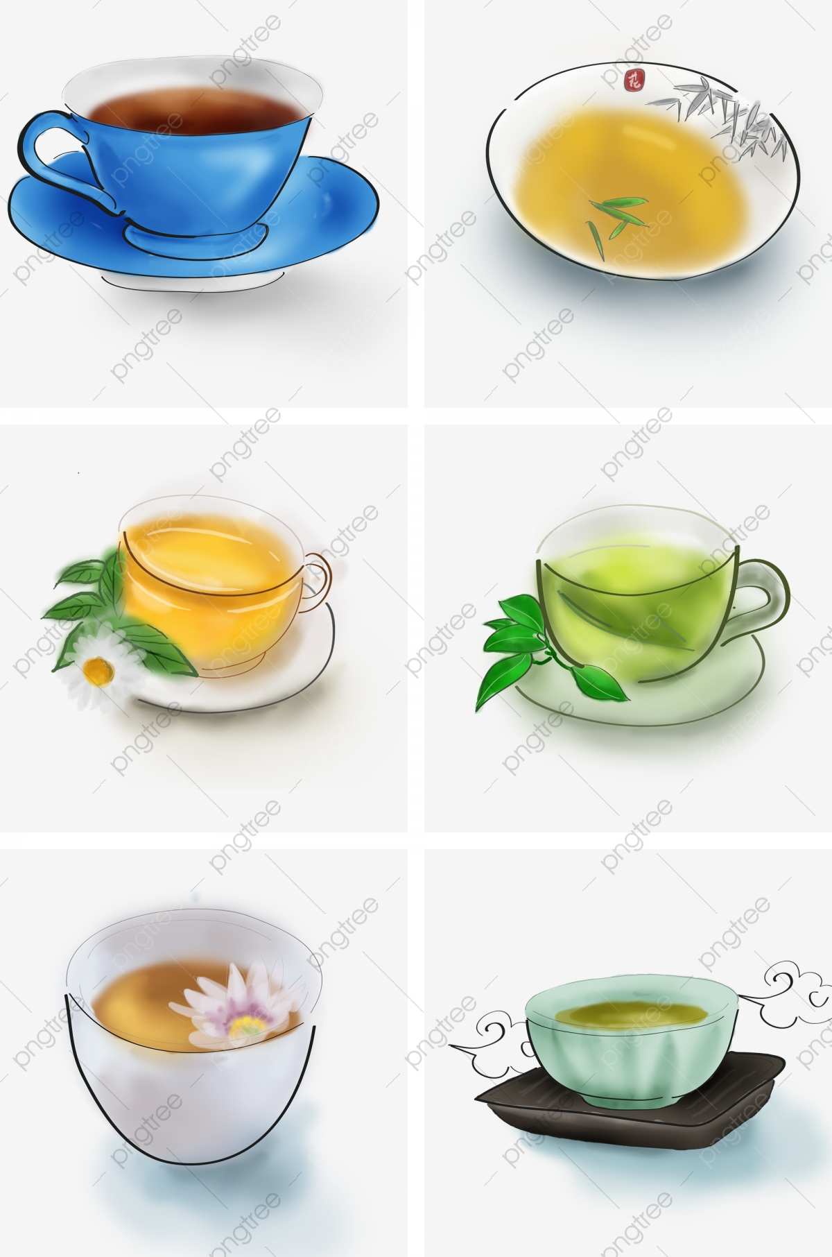 Green Tea Vector Material Download Tea Set Hot Tea Pattern Png Transparent Clipart Image And Psd File For Free Download