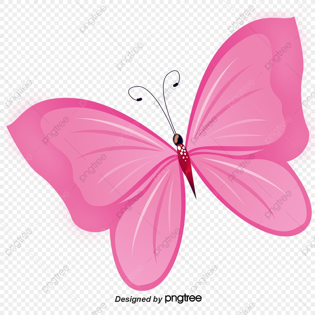 Hand Painted Pink Butterfly, Butterfly Clipart, Hand, Beautiful PNG