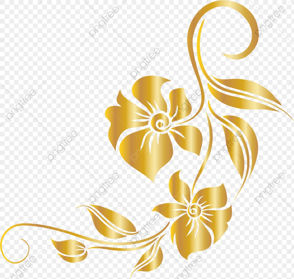 Luxury Golden Flower Flower Clipart Luxurious Leaf Png