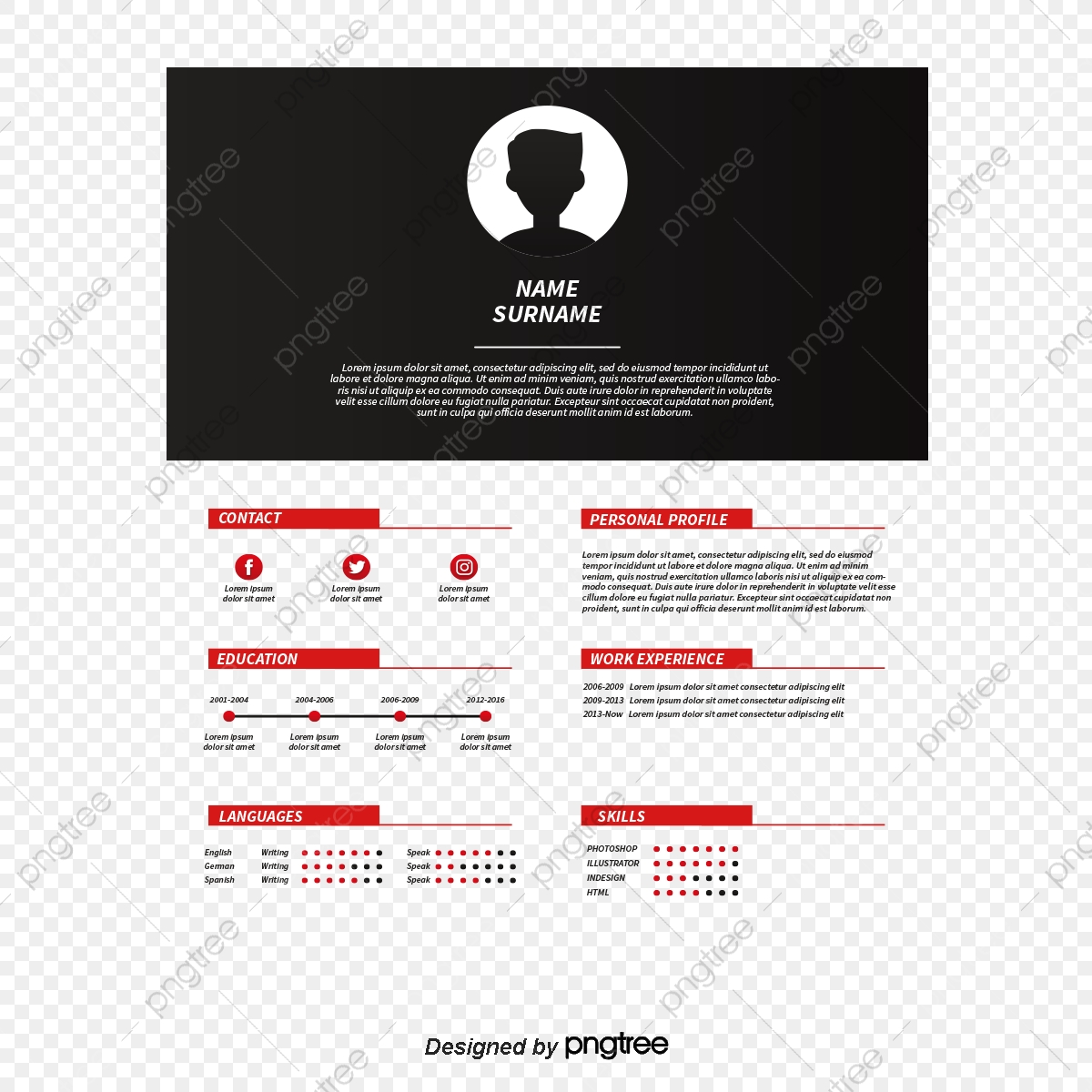 Red And Black Color Resume Vector Png Resume Curriculum