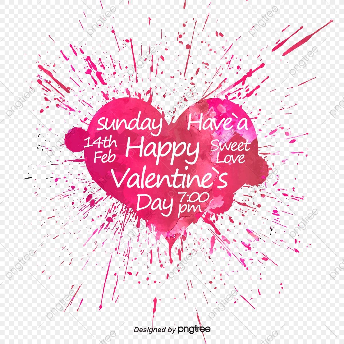 Valentines Day Watercolor Clipart Love Hand Painted Valentine Day Free Commercial Use Digital Art PNG Hearts Wedding DIY Invites