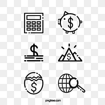Lovely black and white line financial and economic Icon, Logo, Global, Lovely PNG and PSD