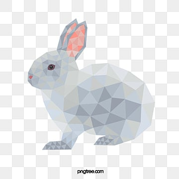 polygon block cute silver gradient rabbit, Rabbit, Animal, Polygon PNG and PSD